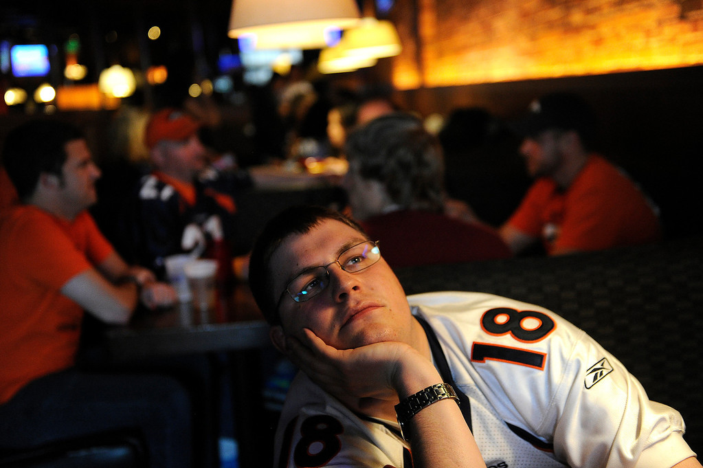 . John Mackey waited as the Kansas City Chiefs ran out the clock before picking Eric Fisher in the first round of the NFL draft Thursday night. Broncos fans gathered for a NFL draft party at the Tavern Downtown, 1949 Market Street, Thursday night, April 25, 2013. Photo By Karl Gehring/The Denver Post