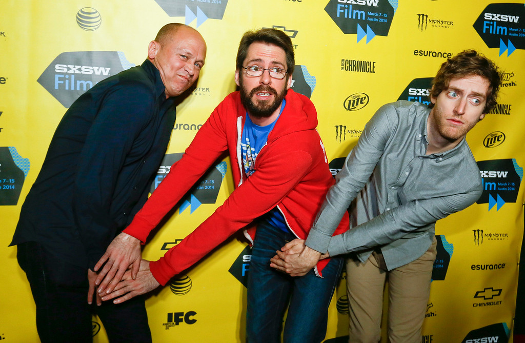 ". Mike Judge, from left, Martin Starr, and Thomas Middleditch pose on the red carpet for the world premiere of their television series  ""Silicon Valley\"" during the SXSW Film Festival on Monday, March 10, 2014, in Austin, Texas. (Photo by Jack Plunkett/Invision/AP)"