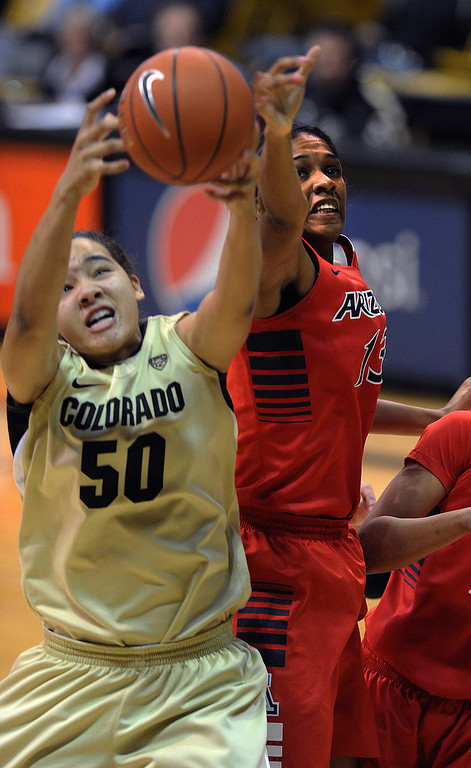 . Jamee Swan of Colorado, gets a rebound from Erica Barnes of Arizona during the first half of the  NCAA Womens Basketball  game in Boulder Sunday Jan. 20, 2013.  Cliff Grassmick/The Daily Camera