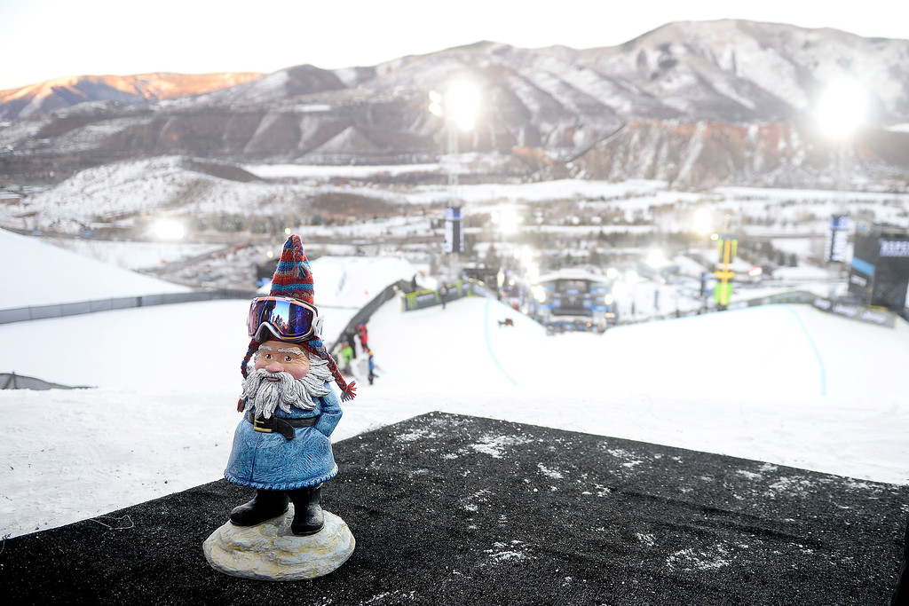 . A gnome rocks goggles as he stands on the deck during the women\'s ski halfpipe final. X Games Aspen at Buttermilk on Friday, January 24, 2014. (Photo by AAron Ontiveroz/The Denver Post)