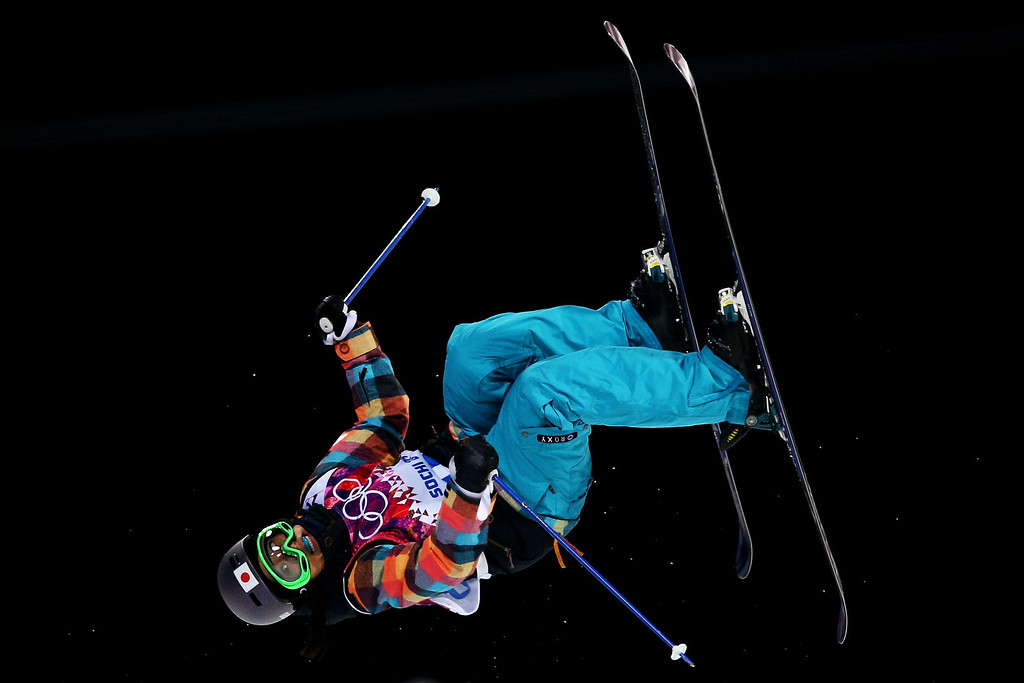 . Manami Mitsuboshi of Japan competes in the Freestyle Skiing Ladies\' Ski Halfpipe Qualification on day thirteen of the 2014 Winter Olympics at Rosa Khutor Extreme Park on February 20, 2014 in Sochi, Russia.  (Photo by Cameron Spencer/Getty Images)