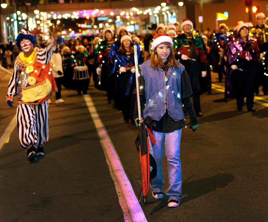. The annual Parade of Lights filed wound its way through downtown Denver Friday night, November 30. 2012. The parade with 11 floats, 7 bands, 5 giant balloons and more lights than anyone could count, had enough holiday spirit to cheer even the biggest Scrooge. A repeat performance is on tap for Saturday night. Karl Gehring/ The Denver Post