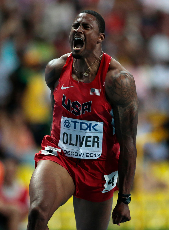 . United States\' David Oliver reacts as he wins the men\'s 110-meter hurdles final at the World Athletics Championships in the Luzhniki stadium in Moscow, Russia, Monday, Aug. 12, 2013. (AP Photo/Ivan Sekretarev)