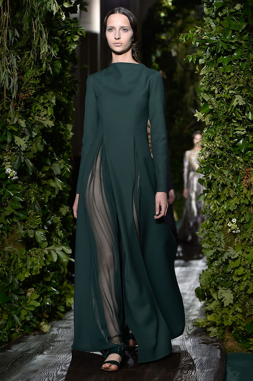 . PARIS, FRANCE - JULY 09:  A model walks the runway during the Valentino show as part of Paris Fashion Week - Haute Couture Fall/Winter 2014-2015 at Hotel Salomon de Rothschild on July 9, 2014 in Paris, France.  (Photo by Pascal Le Segretain/Getty Images)