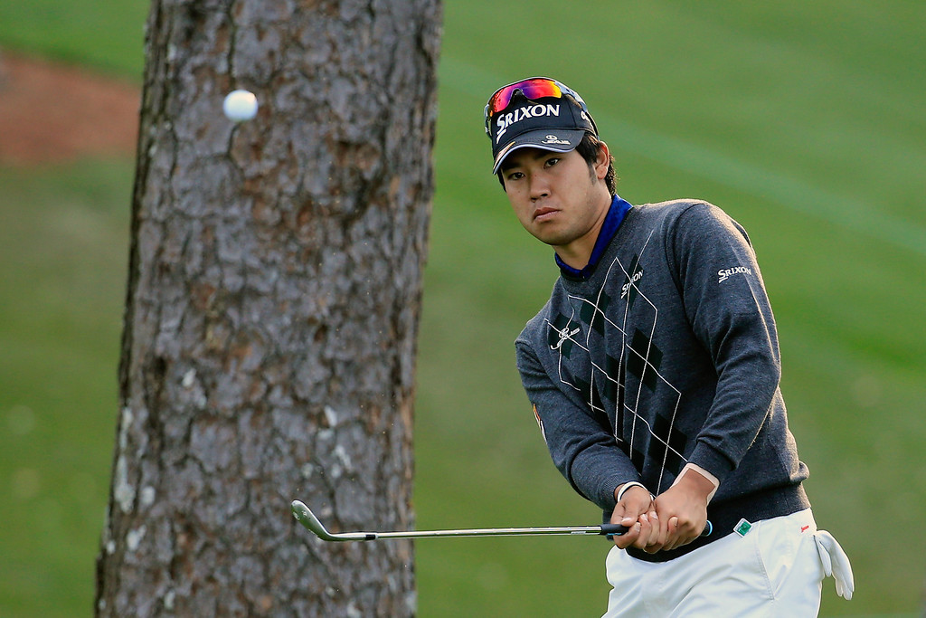 . Hideki Matsuyama of Japan plays a shot during a practice round prior to the start of the 2014 Masters Tournament at Augusta National Golf Club on April 9, 2014 in Augusta, Georgia.  (Photo by Rob Carr/Getty Images)