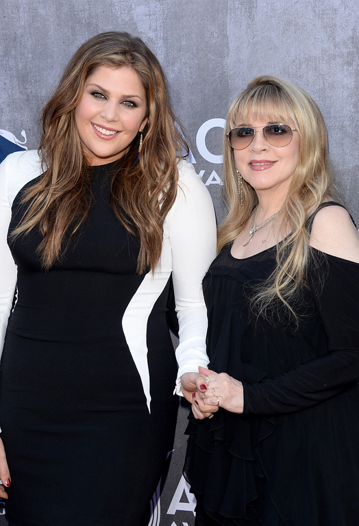. Singers Hillary Scott of Lady Antebellum (L) and Stevie Nicks attend the 49th Annual Academy Of Country Music Awards at the MGM Grand Garden Arena on April 6, 2014 in Las Vegas, Nevada.  (Photo by Jason Merritt/Getty Images)