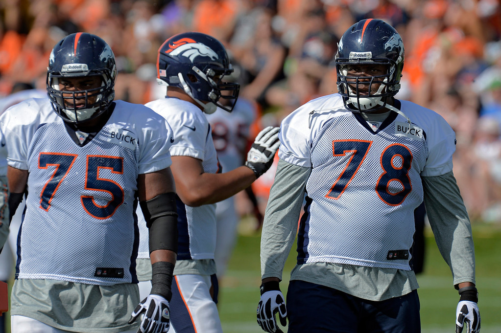 . 9. What is the state of the offensive line?  The key is how two-time all-pro left tackle Ryan Clady rebounds from surgery to repair a torn labrum in his right shoulder. The Broncos are counting on it, as evidenced by the five-year, $52.5 million contract extension they gave him in mid-July. If Clady plays to form, this offensive line will be better than last year�s unit because of the free-agent addition of right guard Louis Vasquez. There is some question about Ramirez at center because he has played primarily played at guard. This is why the Broncos in recent weeks signed center Steve Vallos as a �street�� free agent, traded for guard-center John Moffitt and have arranged for longtime starting guard Chris Kuper to practice snapping as he continues to heal from his left ankle surgery.  Above: Denver Broncos Chris Clark (75) and T Ryan Clady (78) watch drills during training camp August 6, 2013 at Dove Valley. (Photo By John Leyba/The Denver Post)