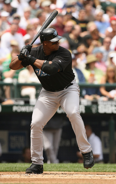 . Frank Thomas #35 of the Toronto Blue Jays at bat during the MLB game against the Seattle Mariners on July 1, 2007 at Safeco Field in Seattle, Washington.  The Mariners won 2-1.  (Photo by Otto Greule Jr/Getty Images)
