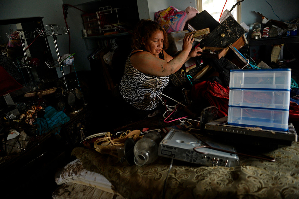. EVANS, CO - SEPTEMBER 19: Araceli Romero goes through her home, in Evans, looking for belongings to save after the flood, September 19, 2013. Residents start to clean up after a massive flood hit the area. (Photo By RJ Sangosti/The Denver Post)
