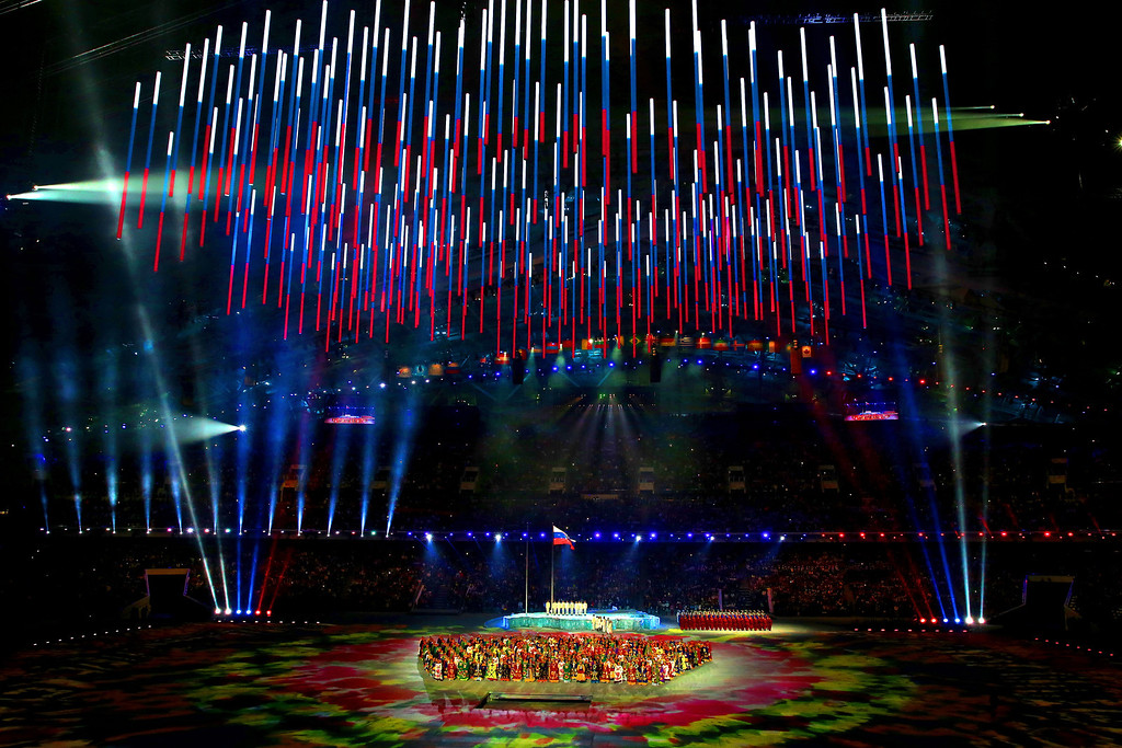 . A Choir performs the arena during the Opening Ceremony of the Sochi 2014 Paralympic Winter Games at Fisht Olympic Stadium on March 7, 2014 in Sochi, Russia.  (Photo by Ian Walton/Getty Images)