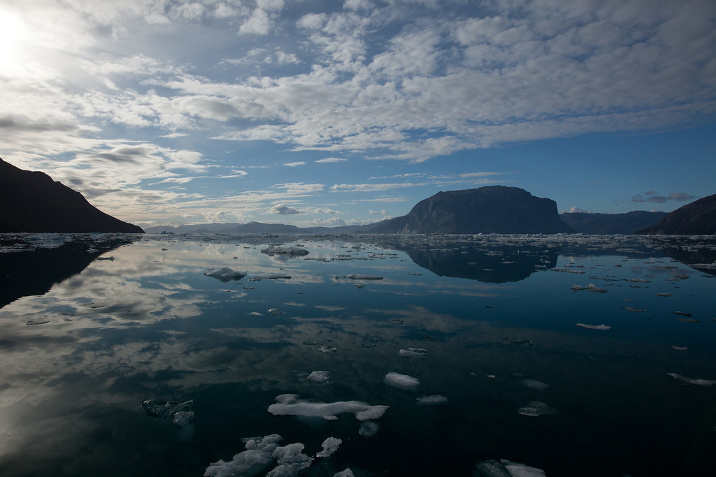 . Cloudy skies and icy waters, Nuuk Fjord, Greenland. Peter Stoddard/Discovery Communications