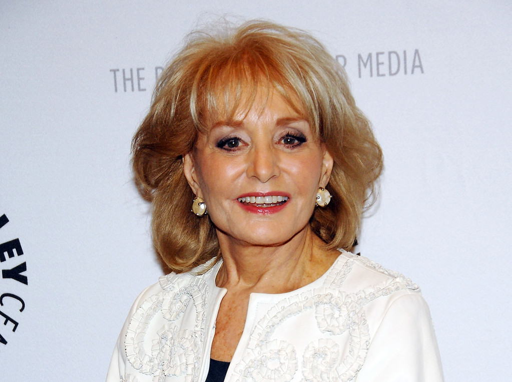 """. TV Barbara Walters arriving to participate in a panel discussion featuring the hosts of ABC\'s \""""The View\"""" at The Paley Center for Media in New York on April 9, 2008.  On Friday, May 16, 2014, capping a spectacular half-century run she began as the so-called \""""Today\"""" Girl, Walters will exit ABC\'s \""""The View.\"""" Behind the scenes she will remain as an executive producer of the New York-based talk show she created 17 years ago, and make ABC News appearances as events warrant and stories catch her interest.  (AP Photo/Evan Agostini, File)"""