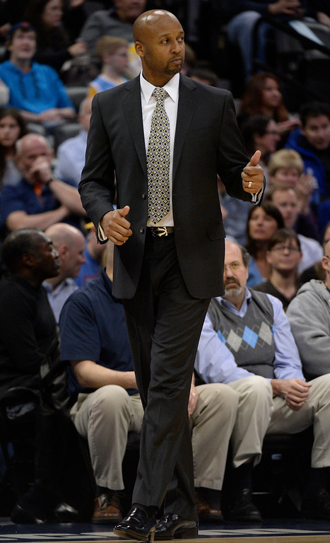 . Denver Nuggets head coach Brian Shaw looks on during the first quarter against the Boston Celtics January 7, 2014 at Pepsi Center. (Photo by John Leyba/The Denver Post)