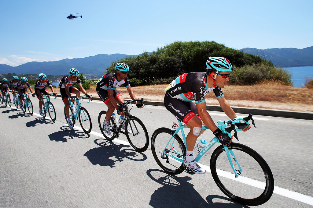 . Markel Irizar of Spain and Radioshack Leopard leads the peloton along the Corsican coast during stage three of the 2013 Tour de France, a 145.5KM road stage from Ajaccio to Calvi, on July 1, 2013 in Calvi, France.  (Photo by Bryn Lennon/Getty Images)