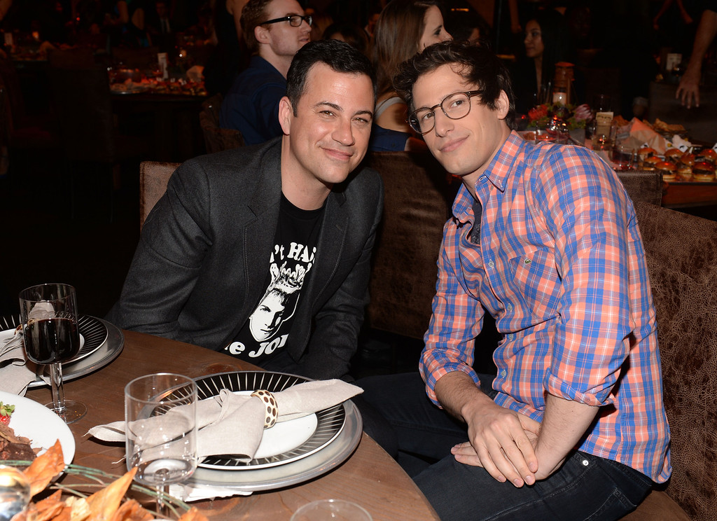 . CULVER CITY, CA - JUNE 08:  TV personality Jimmy Kimmel (L) and actor Andy Samberg attend Spike TV\'s Guys Choice 2013 at Sony Pictures Studios on June 8, 2013 in Culver City, California.  (Photo by Jason Kempin/Getty Images for Spike TV)
