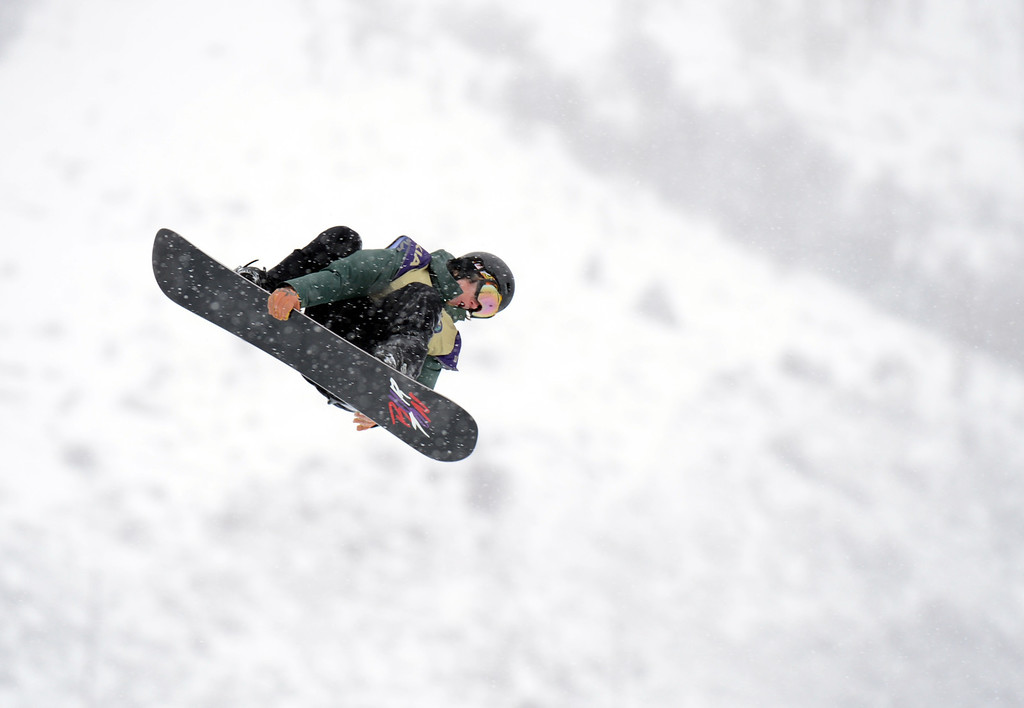 . VAIL, CO. - MARCH 1: Maxence Parrot is in action during the men\'s slopestyle final of Burton U.S. Open. March 1, 2013. Vail, Colorado. (Photo By Hyoung Chang/The Denver Post)