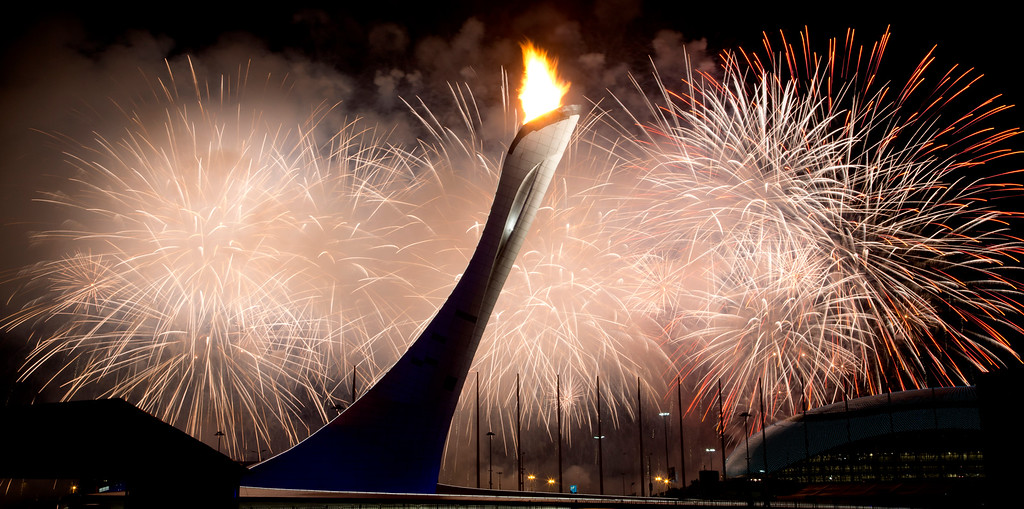 . The Olympic flame is lit during the opening ceremony of the 2014 Winter Olympics in Sochi, Russia, Friday, Feb. 7, 2014. (AP Photo/Bernat Armangue)