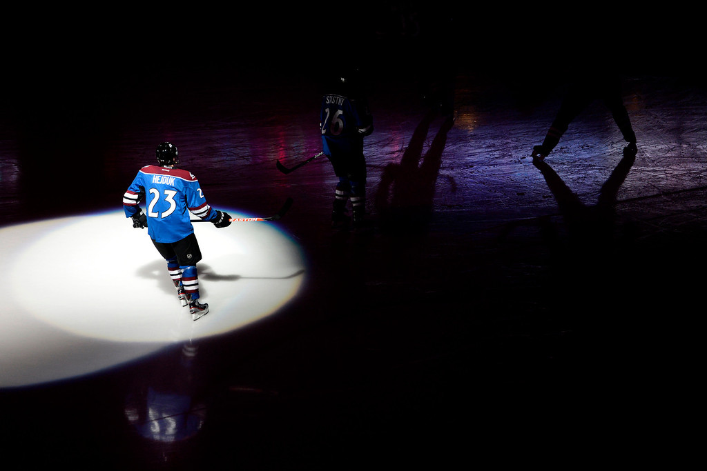 . DENVER, CO. - FEBRUARY 4: Milan Hejduk (23) of the Colorado Avalanche skates on the ice before the first period of his 1,000th career game. Colorado Avalanche versus the Dallas Stars at the Pepsi Center on February 4, 2012. (Photo By AAron Ontiveroz/The Denver Post)