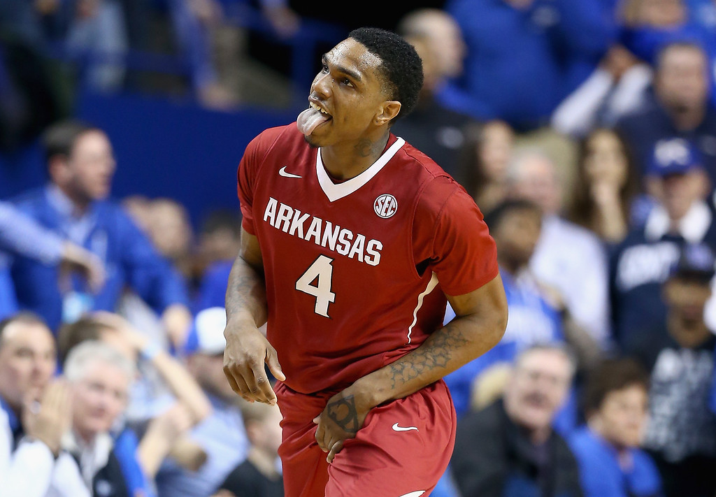 . Coty Clarke #4 of the Arkansas Razorbacks celebrates during the game against the Kentucky Wildcats at Rupp Arena on February 27, 2014 in Lexington, Kentucky.  (Photo by Andy Lyons/Getty Images)