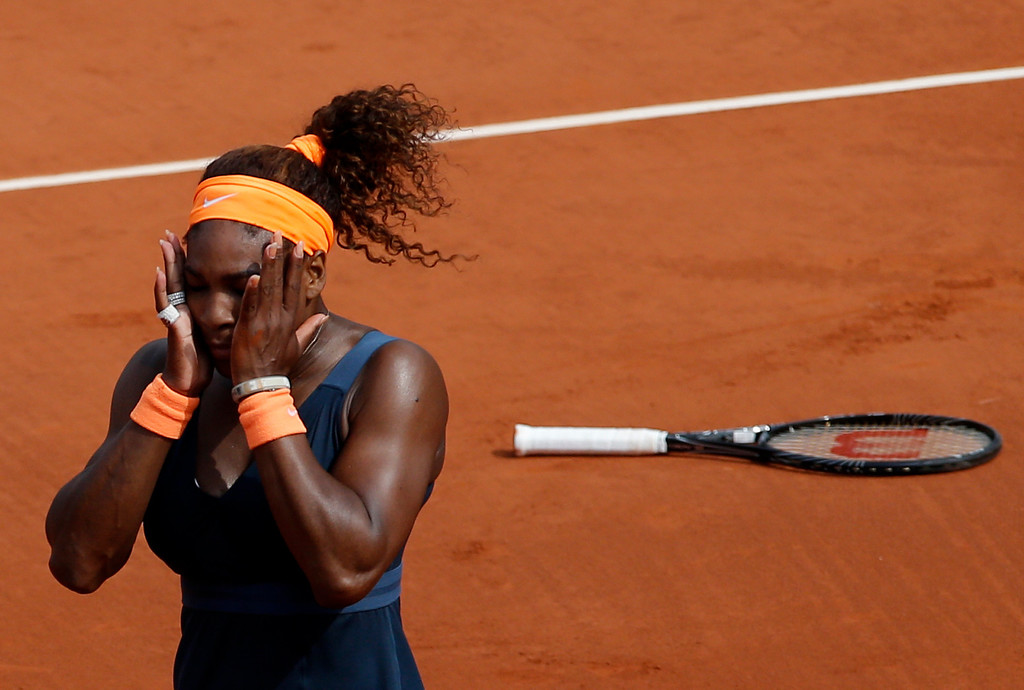 . Serena Williams, of the U.S, reacts as she defeats Russia\'s Maria Sharapova during the Women\'s final match of the French Open tennis tournament at the Roland Garros stadium Saturday, June 8, 2013 in Paris. Williams won 6-4, 6-4. (AP Photo/Christophe Ena)