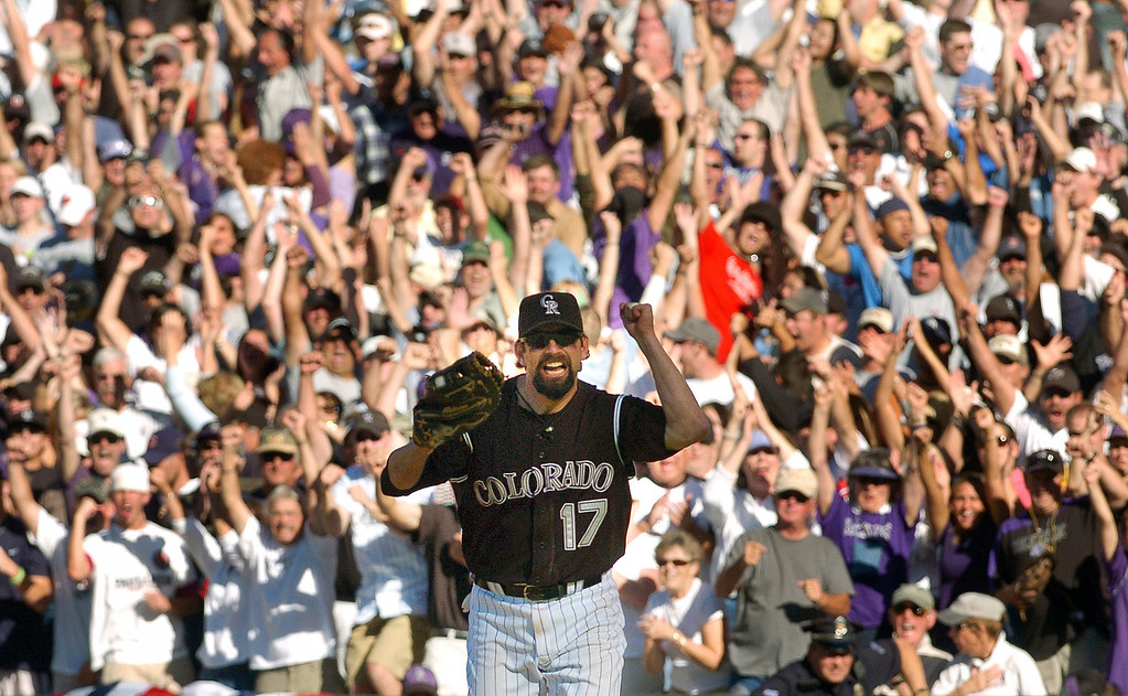 . Rockies first baseman Todd Helto #17 is ecstatic after getting Arizona Diamondbacks shortstop Stephen Drew out at first base to clench the win and to forced a tie breaking game for the wildcard slot for the playoffs against the San Diego Padres.    Helen H. Richardson/The Denver Post