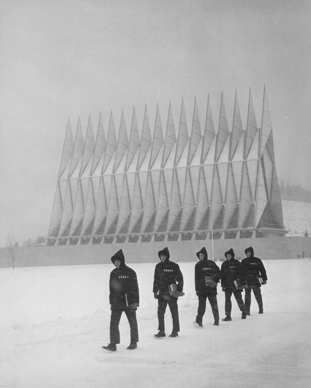 . Cadets walk through the snow in front of the Air Force Academy Chapel in 1966. The Denver Post Library Archive
