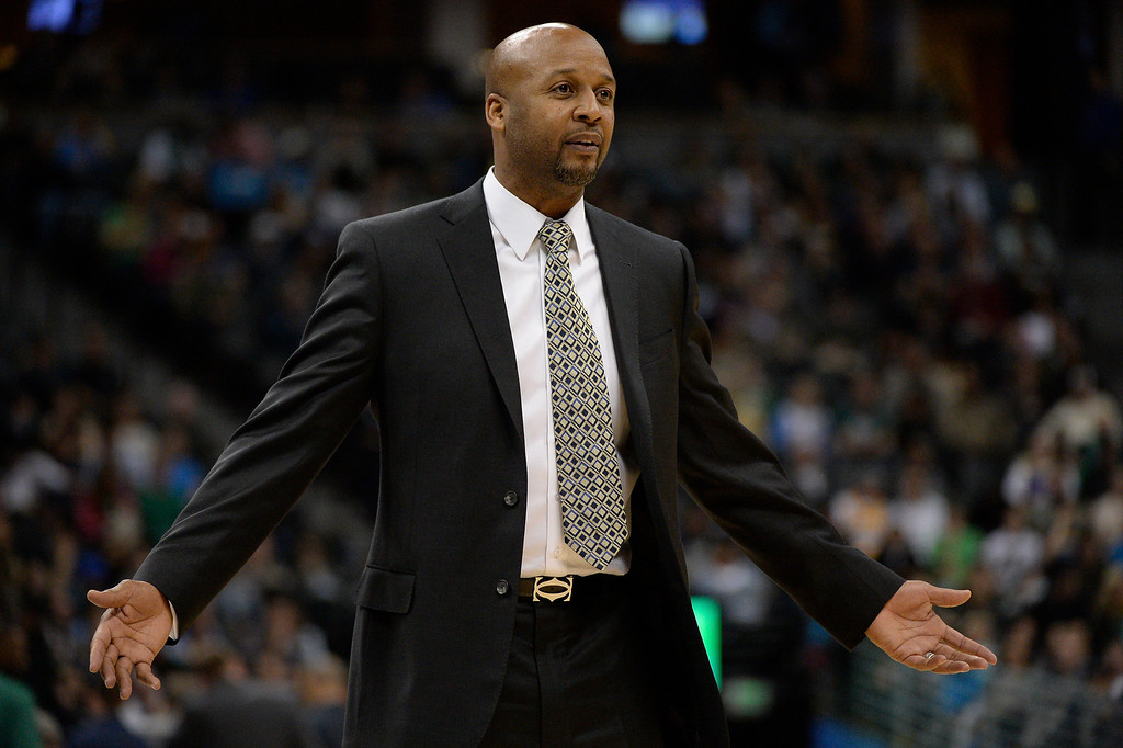 . Denver Nuggets head coach Brian Shaw looks to the ref for an explanation about his technical foul he got at the end of the third quarter against the  Boston Celtics January 7, 2014 at Pepsi Center. (Photo by John Leyba/The Denver Post)