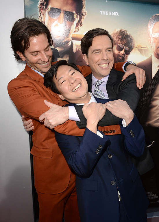 """. Actors Bradley Cooper, Ken Jeong, and Ed Helms arrive at the premiere of Warner Bros. Pictures\' \""""Hangover Part 3\"""" on May 20, 2013 in Westwood, California.  (Photo by Kevin Winter/Getty Images)"""