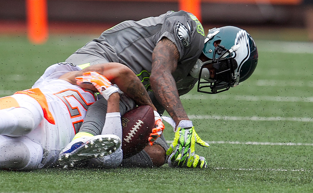 . Philadelphia Eagles Desean Jackson (10), of Team Sanders, has the ball stripped from him by Cleveland Browns cornerback Joe Haden (23), of Team Rice, during the second quarter at the NFL Pro Bowl football game at Aloha Stadium, Sunday. Jan. 26, 2014, in Honolulu. (AP Photo/Marco Garcia)