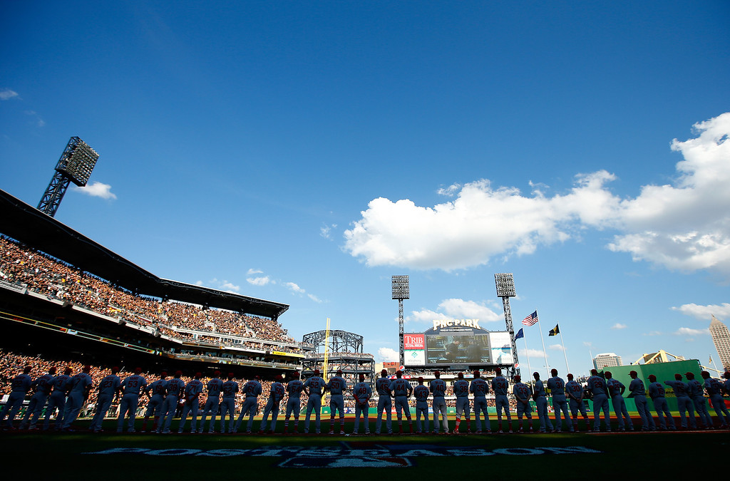 . The St. Louis Cardinals line up before Game Three of the National League Division Series against the Pittsburgh Pirates at PNC Park on October 6, 2013 in Pittsburgh, Pennsylvania.  (Photo by Jared Wickerham/Getty Images)