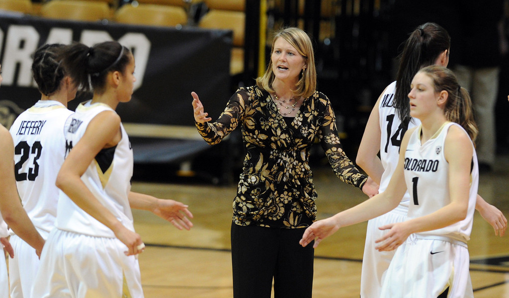 . Linda Lappe talks during a time out during the first half of the December 29, 2012 game in Boulder. Cliff Grassmick / December 29, 2012