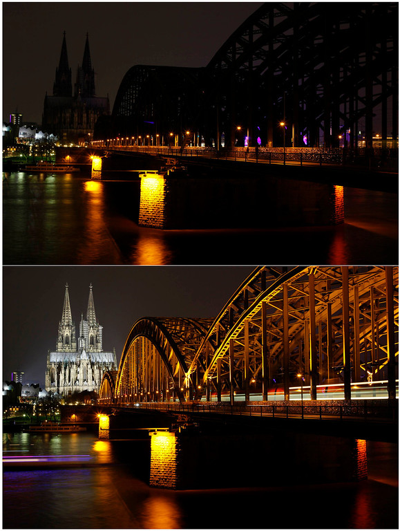 . The UNESCO World Heritage Cologne Cathedral and the Hohenzollern railway bridge along the river Rhine, is seen during (top) and before Earth Hour, in this combination picture taken March 23, 2013. Earth Hour, when everyone around the world is asked to turn off the lights for an hour from 8.30 pm local time, is meant as a show of support for tougher actions to combat climate change.   REUTERS/Wolfgang Rattay