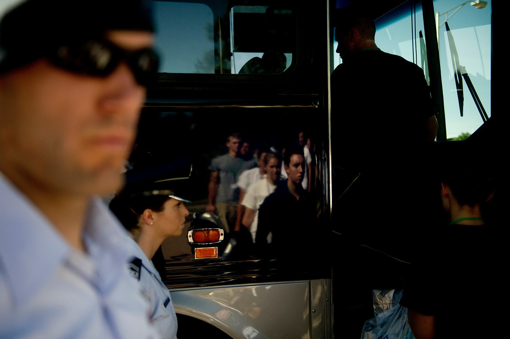. COLORADO SPRINGS, CO. - JUNE 27: Basic Cadet Trainees board a bus to the central campus of the Air Force Academy for inprocessing on June 27, 2013. (Photo By Grant Hindsley/The Denver Post)