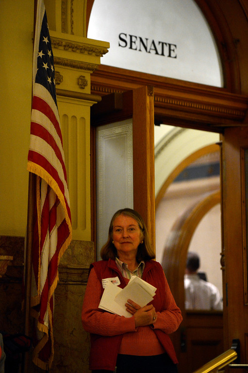 . DENVER, CO. - MARCH 08: Esther Macalady with Golden Action for Public Safety waits for officials outside the door of the Denver Senate before they vote on gun measures at the Denver State Capitol March 08, 2013 Denver, Colorado. (Photo By Joe Amon/The Denver Post)