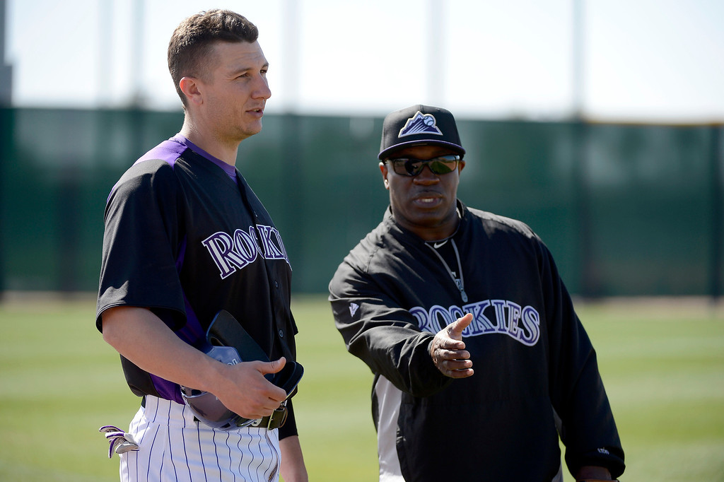 . SCOTTSDALE, AZ. - FEBRUARY 19: Colorado Rockies Troy Tulowitzki (2) chats with Eric Young during Spring Training February 19, 2013 in Scottsdale. (Photo By John Leyba/The Denver Post)