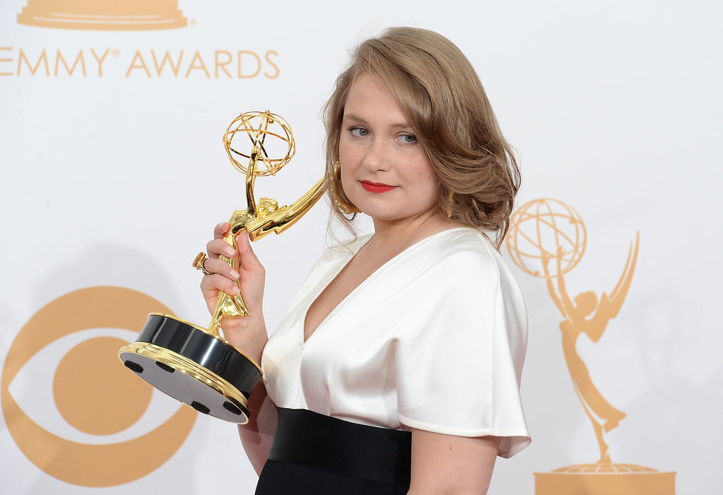 """. Actress Merritt Wever, winner of the Best Supporting Actress In A Comedy Series Award for \""""Nurse Jackie\"""" poses in the press room during the 65th Annual Primetime Emmy Awards held at Nokia Theatre L.A. Live on September 22, 2013 in Los Angeles, California.  (Photo by Jason Merritt/Getty Images)"""
