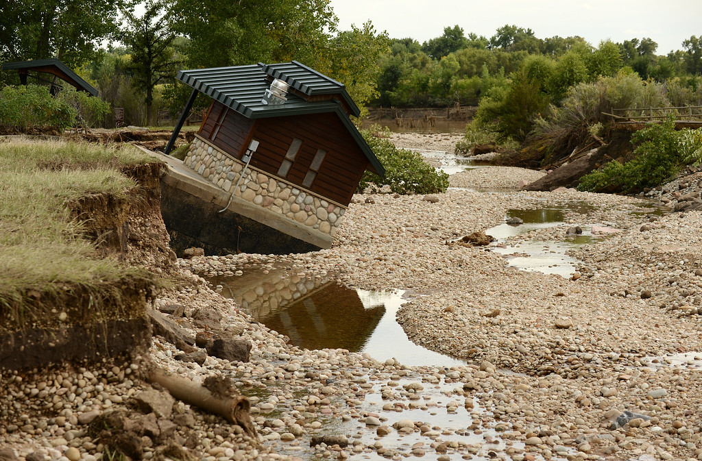 . LONGMONT, CO - September 18 : The foundation of a building was washed away by floodwaters at Pella Crossing Park in Longmont, Colorado. September 18, 2013.  (Photo by Hyoung Chang/The Denver Post)
