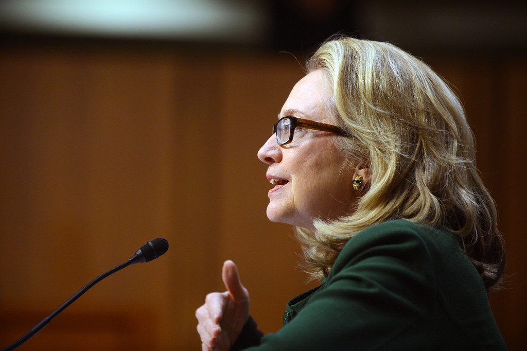 """. US Secretary of State Hillary Clinton testifies before the Senate Foreign Relations Committee on the September 11, 2012 attack on the US mission in Benghazi, Libya, during a hearing on Capitol Hill in Washington, DC, on January 23, 2013. Secy. Clinton warned of the challenges posed by rising militancy after the Arab Spring as she appeared before US lawmakers Wednesday to be grilled about a deadly attack. \""""Benghazi didn\'t happen in a vacuum,\"""" Clinton said at the start of a Senate hearing into the September 11 assault on a US mission in eastern Libya. AFP PHOTO / Saul LOEB        (Photo credit should read SAUL LOEB/AFP/Getty Images)"""