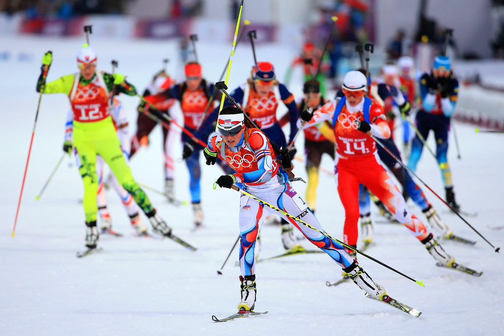 . SOCHI, RUSSIA - FEBRUARY 19:  Veronika Vitkova of the Czech Republic leads the field in the 2 x 6 km Women + 2 x 7 km Men Mixed Relay during day 12 of the Sochi 2014 Winter Olympics at Laura Cross-country Ski & Biathlon Center on February 19, 2014 in Sochi, Russia.  (Photo by Richard Heathcote/Getty Images)