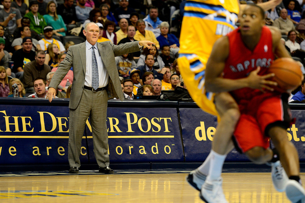 . Denver Nuggets head coach George Karl calls out plays against the Toronto Raptors during the second half of the Nuggets\' 113-110 win at the Pepsi Center on Monday, December 3, 2012. AAron Ontiveroz, The Denver Post