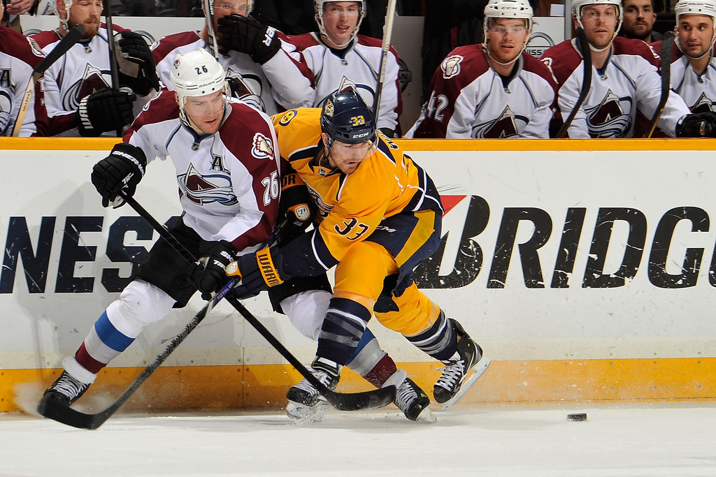 . NASHVILLE, TN - JANUARY 18: Paul Stastny #26 of the Colorado Avalanche skates against Colin Wilson #33 of the Nashville Predators at Bridgestone Arena on January 18, 2014 in Nashville, Tennessee.  (Photo by Frederick Breedon/Getty Images)