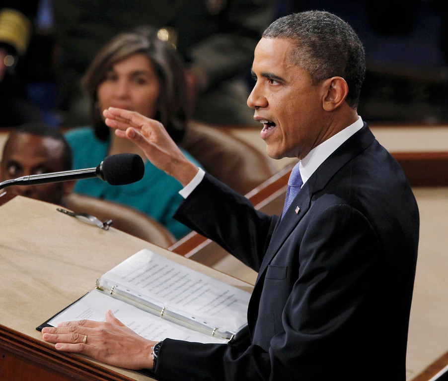 . U.S. President Barack Obama delivers his State of the Union speech on Capitol Hill in Washington, February 12, 2013. REUTERS/Jason Reed