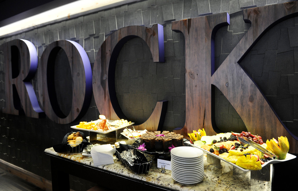 . A food buffet out for fans in the  newly redesigned Lower Press Club premium seats at the Denver  baseball park on May 3, 2013 before the Rockies game. (Photo By Cyrus McCrimmon/The Denver Post)
