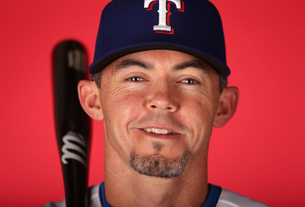 . SURPRISE, AZ - FEBRUARY 20:  Eli Whiteside #6 of the Texas Rangers poses for a portrait during spring training photo day at Surprise Stadium on February 20, 2013 in Surprise, Arizona.  (Photo by Christian Petersen/Getty Images)