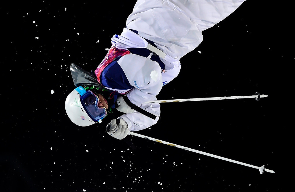 . US skier Bradley Wilson competes in the Men\'s Freestyle Skiing Moguls final at the Rosa Khutor Extreme Park during the Sochi Winter Olympics on February 10, 2014.   JAVIER SORIANO/AFP/Getty Images