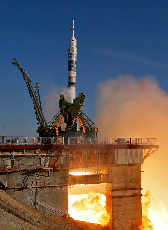. The Soyuz-FG rocket booster with Soyuz TMA-11M space ship carrying new crew to the International Space Station, ISS, blasts off at the Russian leased Baikonur cosmodrome, Kazakhstan, Thursday, Nov. 7, 2013.  (AP Photo/Dmitry Lovetsky)