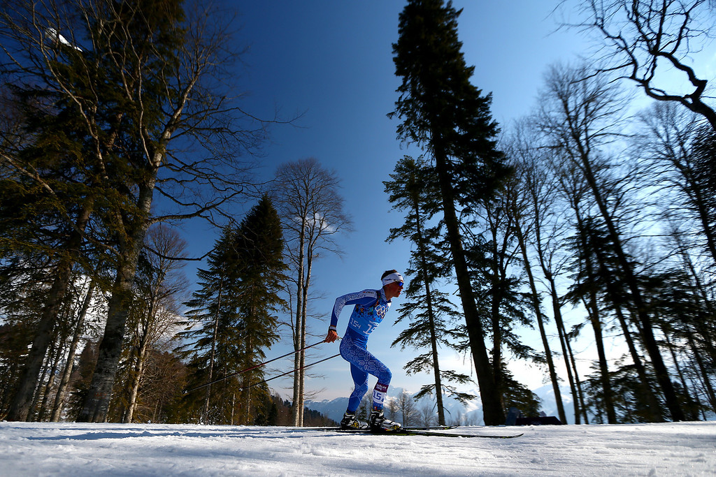. Raido Rankel of Estonia competes on the fourth leg of the Cross Country Men\'s 4 x 10 km Relay during day nine of the Sochi 2014 Winter Olympics at Laura Cross-country Ski & Biathlon Center on February 16, 2014 in Sochi, Russia.  (Photo by Clive Mason/Getty Images)