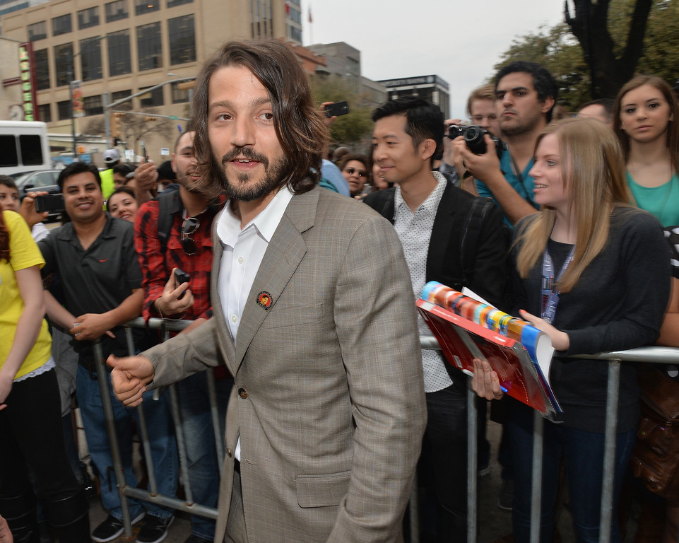 ". Director Diego Luna arrives at the premiere of ""Cesar Chavez\"" during the 2014 SXSW Music, Film + Interactive Festival\"" at the Paramount Theatre on March 10, 2014 in Austin, Texas.  (Photo by Michael Buckner/Getty Images for SXSW)"