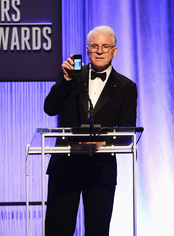 . Presenter Steve Martin speaks onstage during the 15th Annual Costume Designers Guild Awards with presenting sponsor Lacoste at The Beverly Hilton Hotel on February 19, 2013 in Beverly Hills, California.  (Photo by Jason Merritt/Getty Images for CDG)
