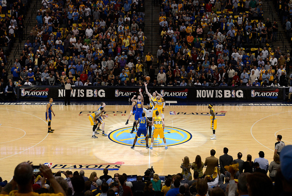 . DENVER, CO. - APRIL 20: The Nuggets and Warriors tip off the first game of the playoff series. The Denver Nuggets took on the Golden State Warriors in Game 1 of the Western Conference First Round Series at the Pepsi Center in Denver, Colo. on April 20, 2013. (Photo by John Leyba/The Denver Post)